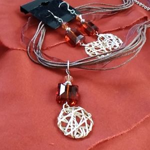 Handmade amber necklace and dangle earrings set